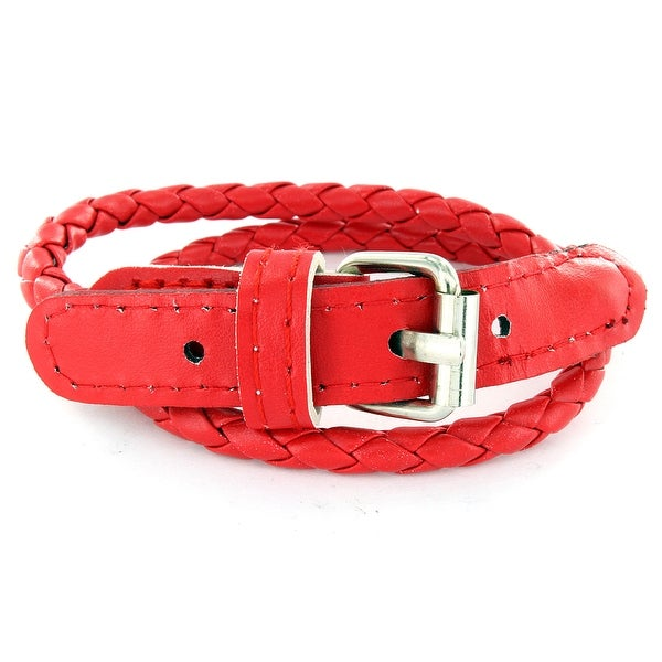 Red Multi Weaved Double Wrap Leather Bracelet with Buckle End Design (Sold Ind.) (5 mm) - 7.5 in
