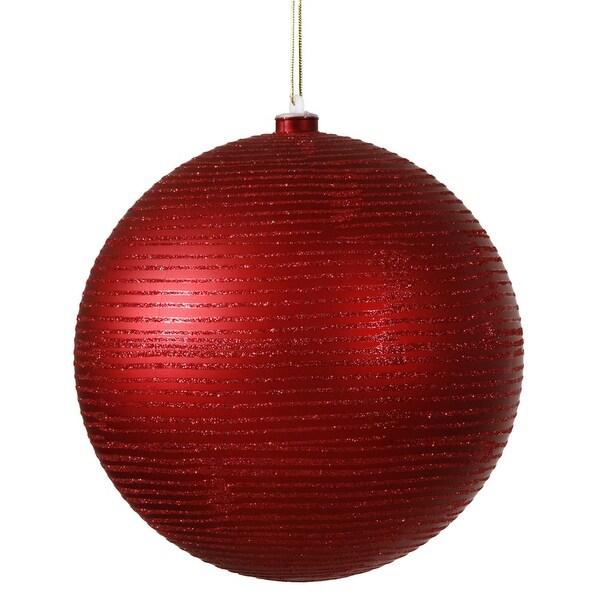 "Red Hot Glitter Striped Shatterproof Christmas Ball Ornament 4"" (100mm)"