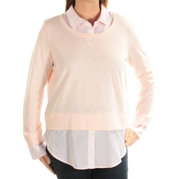 63bd6da9ad4f66 Shop Womens Pink Long Sleeve Collared Top Size L - Free Shipping On Orders  Over $45 - Overstock - 22430400