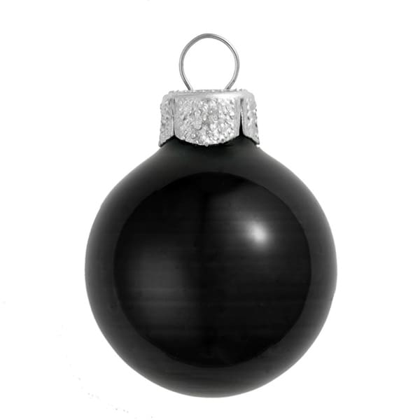 "28ct Shiny Black Glass Ball Christmas Ornaments 2"" (50mm)"