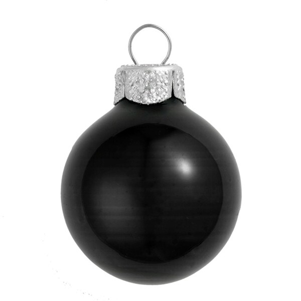 "40ct Shiny Black Glass Ball Christmas Ornaments 1.5"" (40mm)"