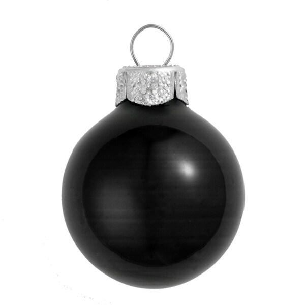 "6ct Shiny Black Glass Ball Christmas Ornaments 4"" (100mm)"