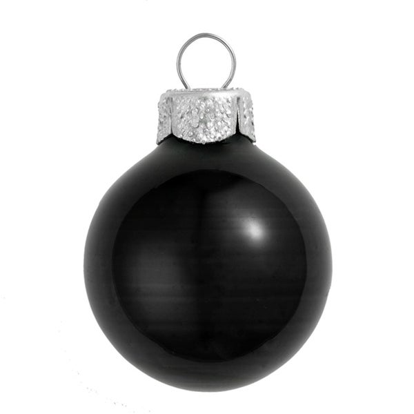 "Shiny Black Glass Ball Christmas Ornament 7"" (180mm)"