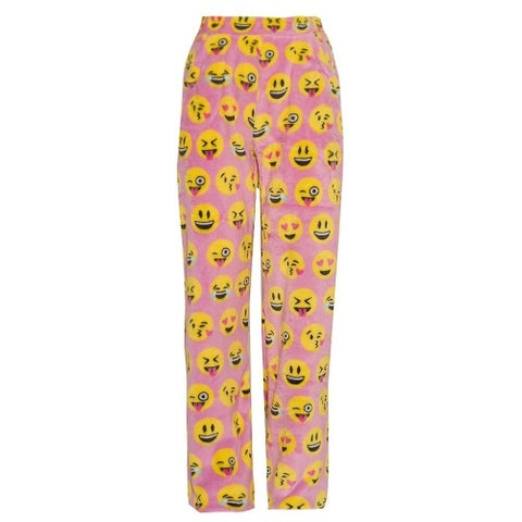 Candy Pink Girls Pink Yellow Emoticon Print Mixed Print Pajama Pants
