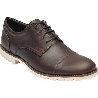 Rockport Men's Sharp & Ready Colben Cap Toe Oxford Saddle Brown Leather