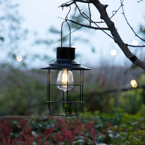 "Glitzhome 9.75""H Black Metal Wire Solar Powered Outdoor Hanging Lantern"