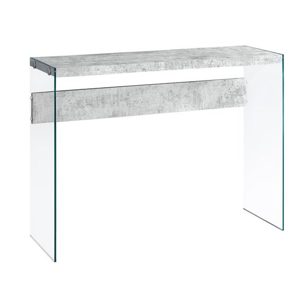 Monarch Specialties I 3232 44 Inch Wide Wood Top Gl Hall Console Table Gray