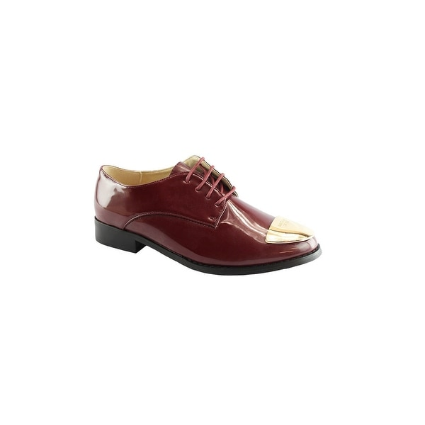 cb345301c8 Shop Liyu Adult Crimson Red Gold Metal Detail Lace-Up Oxford Shoes ...