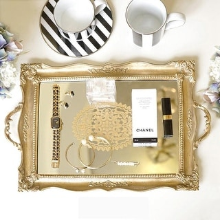 FloralGoods Antique Style Floral Carving Frame Brass Mirrored Vanity Tray