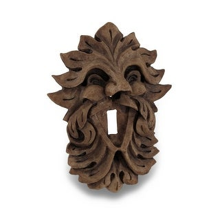 Celtic Green Man Wood Finish Light Switch Plate Leaf