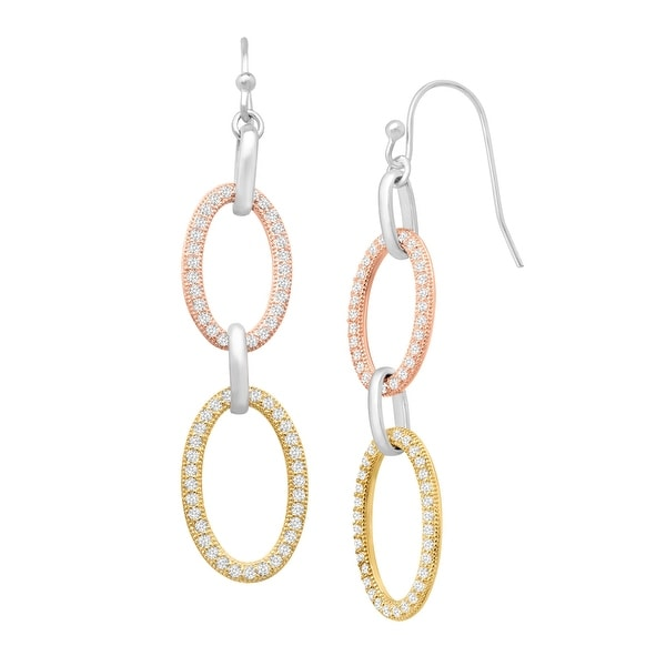 Drop Earrings with Cubic Zirconia in 14K Yellow & Rose Gold-Plated Sterling Silver