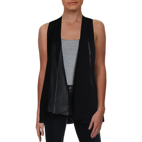 Lafayette 148 New York Womens Vest Relaxed Faux Leather - Black - P