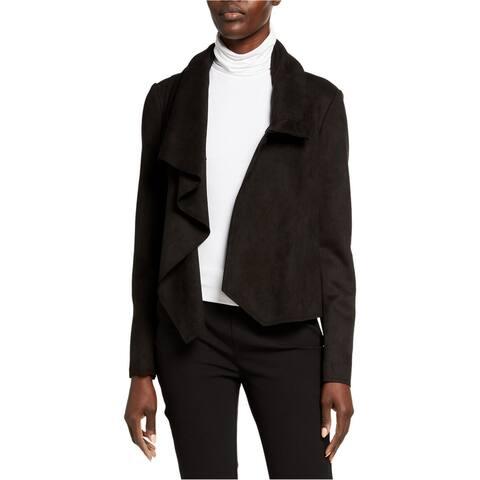 Anne Klein Womens Faux Suede Coat, Black, Large