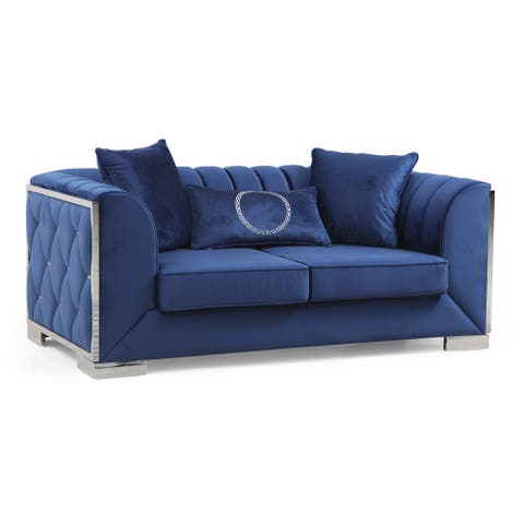 Collins Modern Blue Velvet Upholstered Channel Tufted Loveseat with Silver Accents