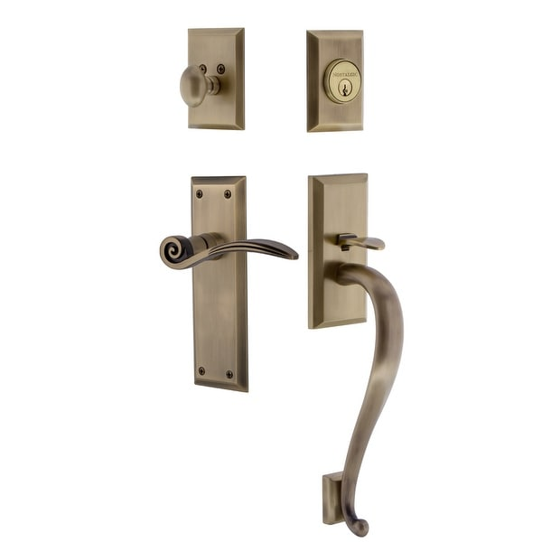 Nostalgic Warehouse NYKSWN_ESET_234_SG_RH New York Right Handed Sectional Single Cylinder Keyed Entry Handleset with S Grip and