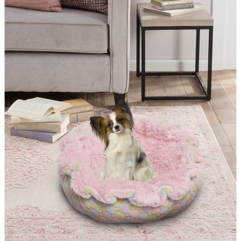 """Bessie and Barnie Ultra Plush Bubble Gum/ Ice Cream Luxury Deluxe Dog / Pet Cuddle Pod Bed - 30"""""""