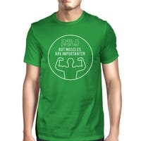 Muscles Are Importanter Mens Green Lightweight Cotton Workout Tee