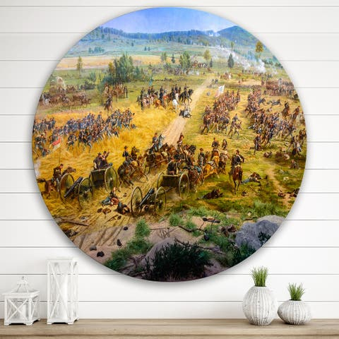 Designart 'Gettysburg National Military Park' Vintage Metal Circle Wall Art