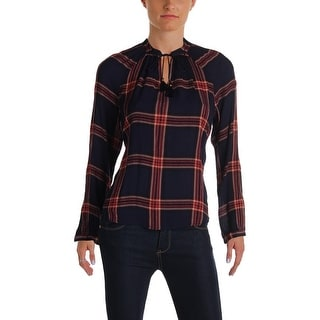 Lucky Brand Womens Peasant Top Plaid Long Sleeves
