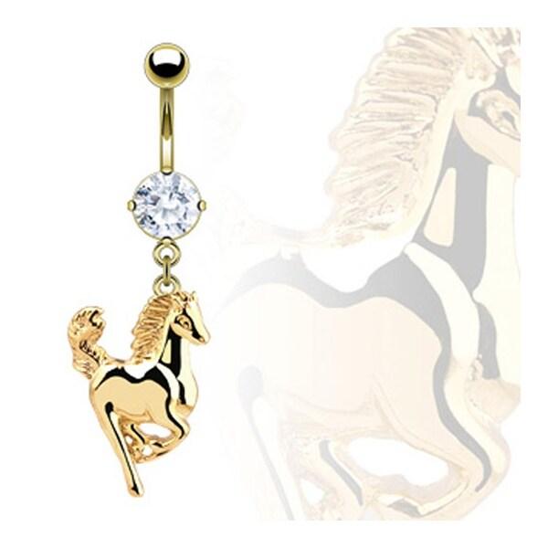 "Gold Plated Banana CZ Horse Dangle Navel Belly Button Ring - 14GA 3/8"" Long"