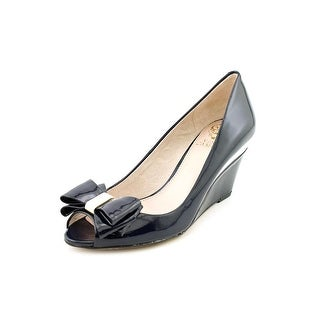 Vince Camuto Varro Women Open Toe Patent Leather Blue Wedge Heel