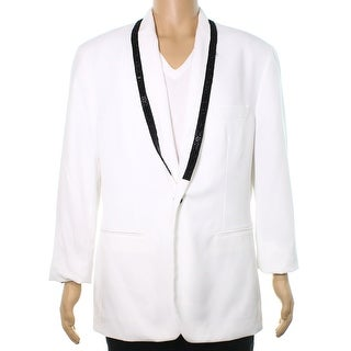 INC NEW White Beaded Shawl Mens Size XL One Button Slim Fit Blazer