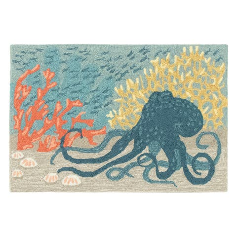 Liora Manne Frontporch Octopus Indoor/Outdoor Rug Ocean