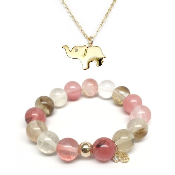 Pink Cherry Quartz Bracelet & CZ Elephant Gold Charm Necklace Set