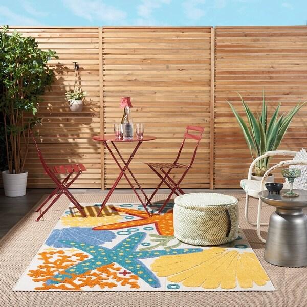 Nourison Aloha Coastal Beach Theme Starfish Indoor/Outdoor Area Rug. Opens flyout.