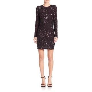 Parker Black Nikki Sequined Long Sleeve Cocktail Dress Barossa - M