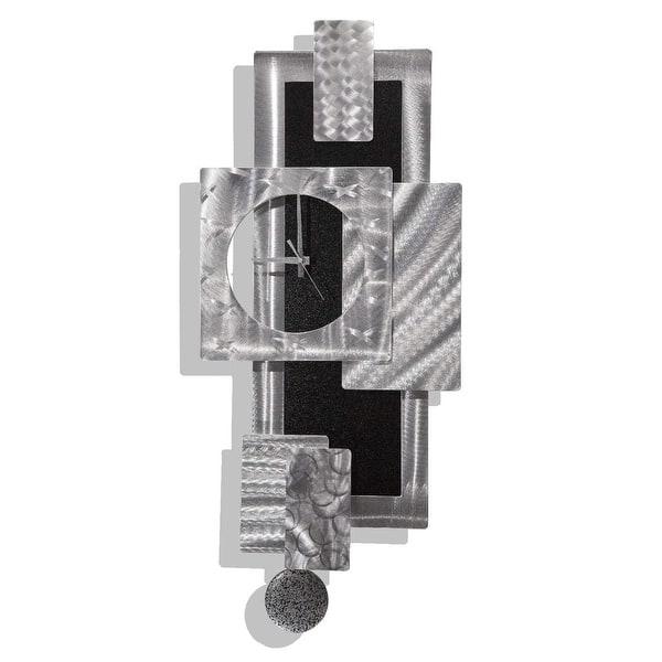 Statements2000 Large Metal Wall Art Clock Pendulum Modern Abstract Silver Black Sculpture Decor By Jon Allen Titan Clock Overstock 27085708