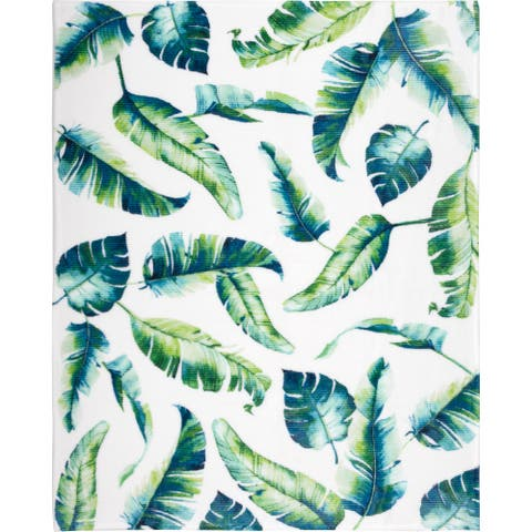 Throw Ribbed Printed Flannel Banana Leaves