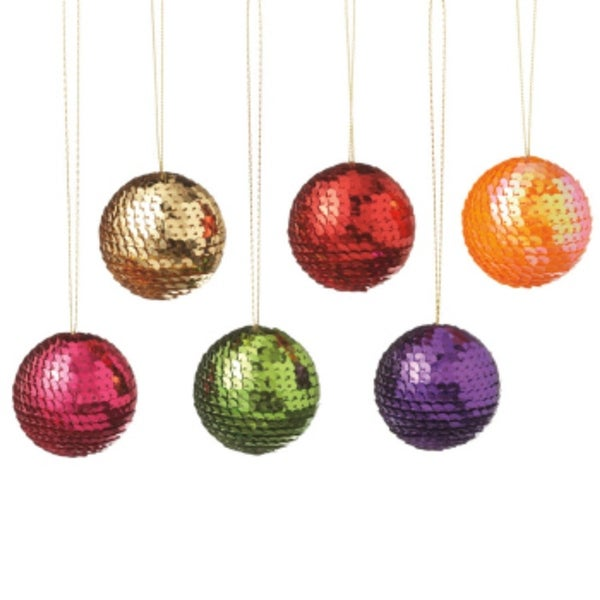 """Club Pack of 12 Multi-Colored Shatterproof Sequin Ball Christmas Ornament 2"""""""