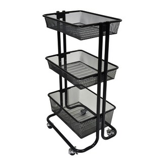 Offex 3 Shelf Home Storage Rolling Kitchen Utility Cart Steel - Black