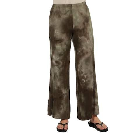24seven Comfort Apparel Womens Brown Tie Dye Elastic Waist Palazzo