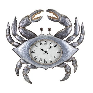 27.25 Metallic Silver and Gold Coastal Style Crab Decorative Metal Wall Clock