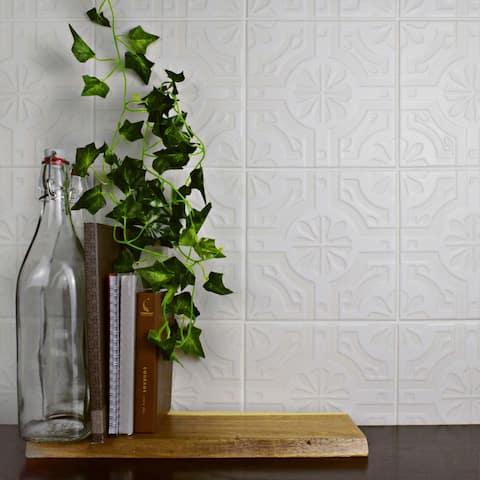 SomerTile 7.75x7.75-inch Triple Real White Ceramic Wall Tile (25 tiles/11 sqft.)