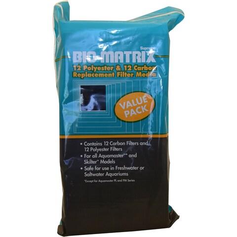 Supreme (Danner) ASP11812 12-Pack Bio-Matrix Carbon/Polyester Filter Pad for Aquarium