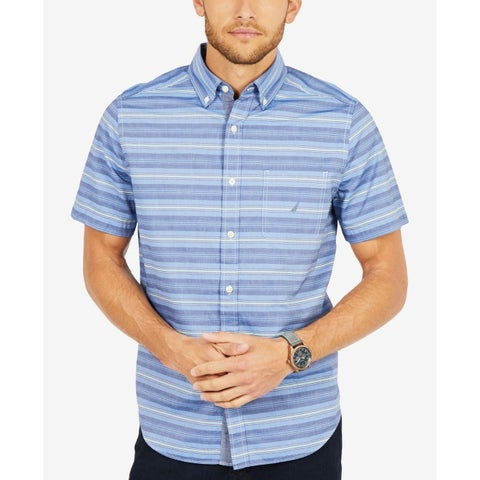 Nautica Blue Men 2XL Classic Fit Pocket Button Down Stripe Shirt