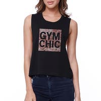 Gym Chic Black Work Out Crop Top Cute Fitness Sleeveless Muscle Tee