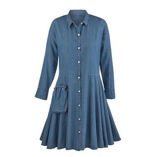 Women's Denim Tunic Dress - Button Down Collared Tencel Denim Duster