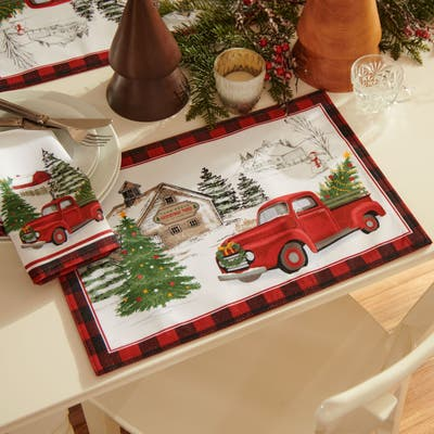 Vintage Christmas Tree Farm Holiday Placemat, Set of 4