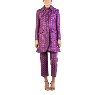 Miu Miu Women's Virgin Wool Polyester Blend Jacquard Coat Purple - 42