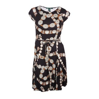 Lauren Ralph Lauren Women's Belted Cap Sleeves Printed Dress - l