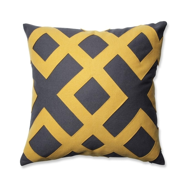 "16.5"" Charcoal Grey and Yellow Geometric Design Decorative Throw Pillow"
