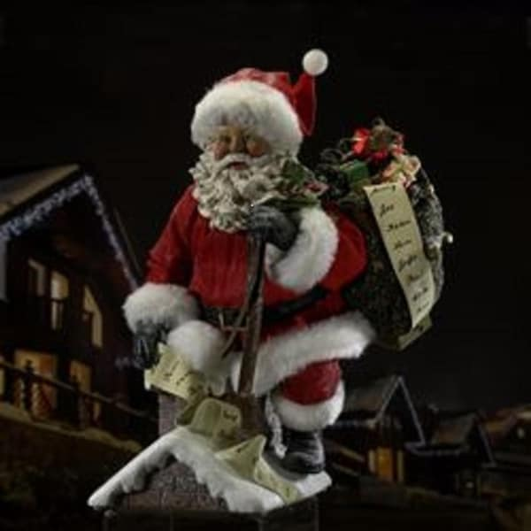 "10"" Fabriche ""Down The Chimney He Goes"" Santa Claus on Rooftop Christmas Table Top Decoration"