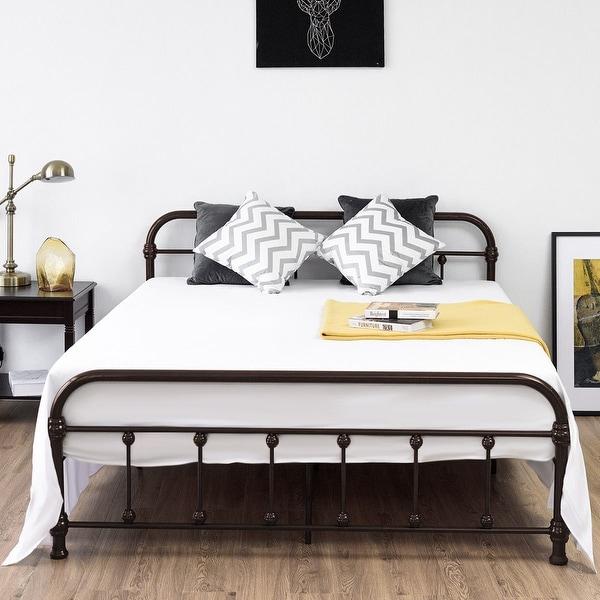 Queen Size Metal Steel Bed Frame W// Stable Metal Slats Headboard Footboard Black