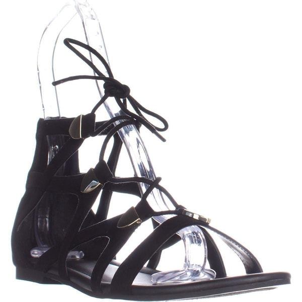 G by GUESS Lewy Black Camoscio Suede Sandals, Black