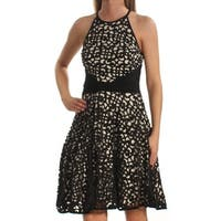XSCAPE Womens Black Sleeveless Jewel Neck Above The Knee Fit + Flare Dress  Size: 2