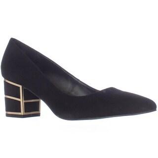 Steve Madden Buena Pointed Toe Block Heel Kitten Pumps, Black